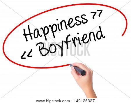 Women Hand Writing Happiness - Boyfriend With Black Marker On Visual Screen.