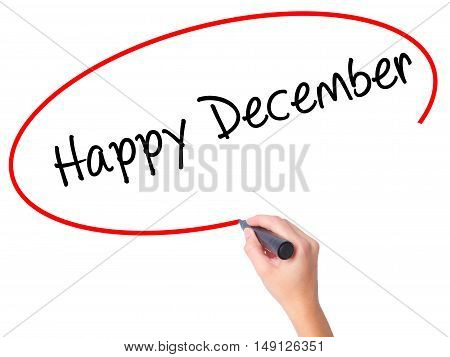 Women Hand Writing Happy December With Black Marker On Visual Screen