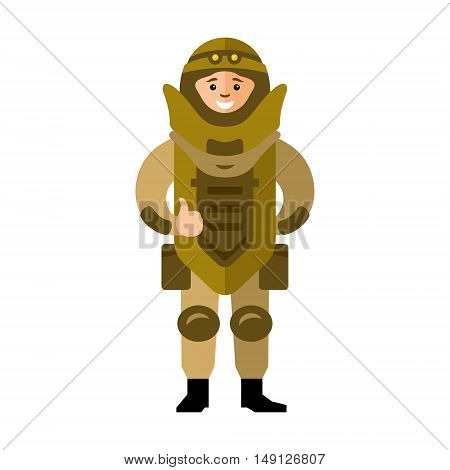 The soldier in protective clothing of the explosion. Isolated on a White Background