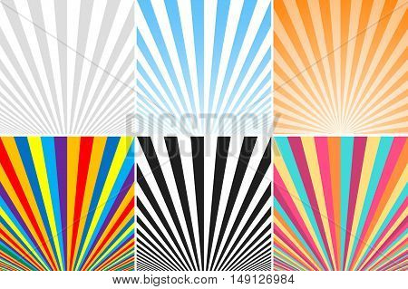 Collection of abstract colorful striped backgrounds. Similar to retro posters.