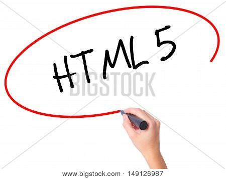 Women Hand Writing Html 5 With Black Marker On Visual Screen