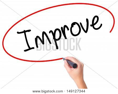 Women Hand Writing Improve With Black Marker On Visual Screen