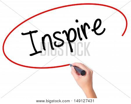 Women Hand Writing Inspire  With Black Marker On Visual Screen