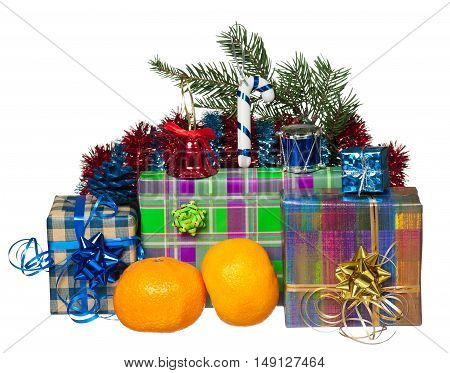 New year gifts with fir-tree toys and garland over white background
