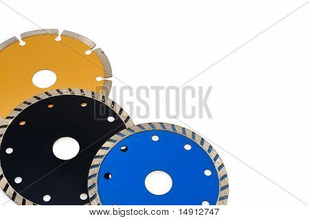 Circular grinder blades for tiles isolated on white