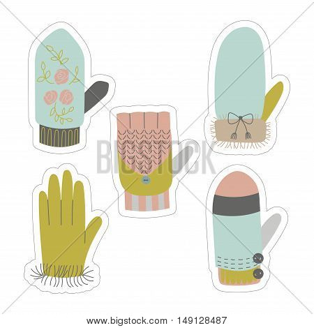 Winter mittens and gloves vector stickers set. Winter elements. Can be used as invitation, greeting card.