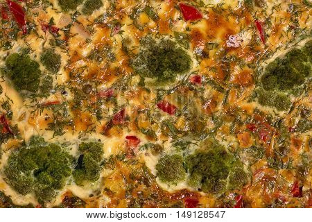 Bright delicious surface of the vegetable baked pudding with broccoli