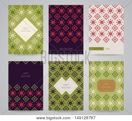New year and christmas cards set. Pixel snowflake and rhombus ornament. Can be used as invitation, envelope, greeting card, brochure, flyer.