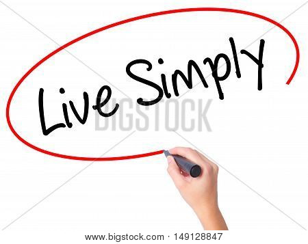 Women Hand Writing Live Simply With Black Marker On Visual Screen