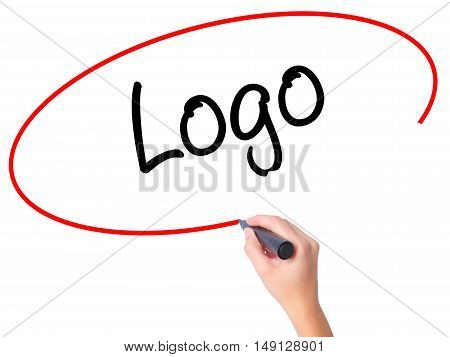 Women Hand Writing Logo  With Black Marker On Visual Screen