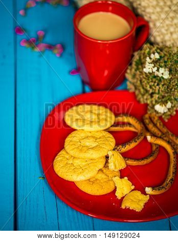 Breakfast On A Blue Wooden Background, Cup Of Latte With Cookies