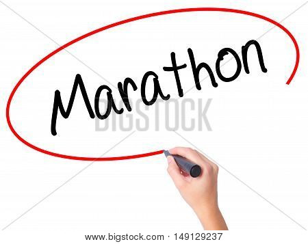 Women Hand Writing Marathon With Black Marker On Visual Screen.