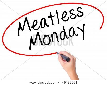 Women Hand Writing Meatless Monday With Black Marker On Visual Screen
