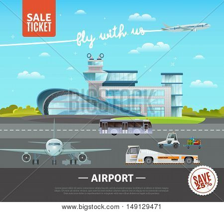 Airport flat vector illustration of terminal building technical transport on airfield plane taking off and advertising of tickets sale