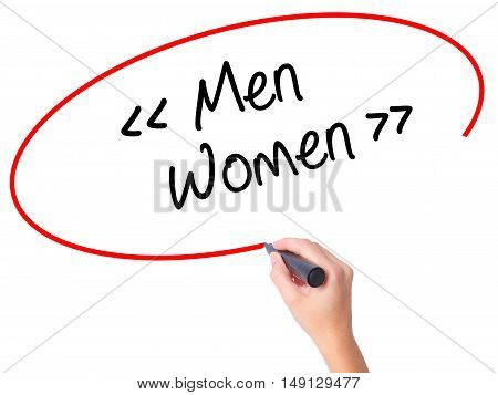 Women Hand Writing Men - Women With Black Marker On Visual Screen