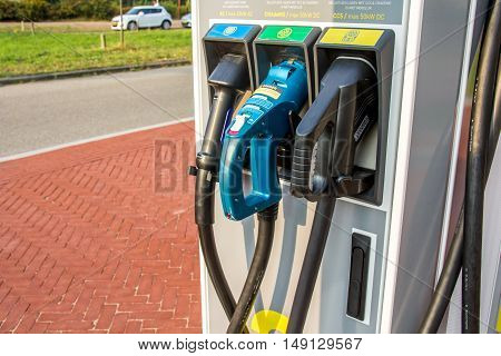 The Hague the Netherlands - September 22 2016: fast charge point for electric vehicles