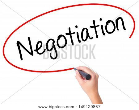 Women Hand Writing Negotiation  With Black Marker On Visual Screen.