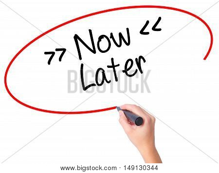 Women Hand Writing Now/later With Black Marker On Visual Screen.