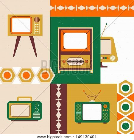 Retro television illustration. Can be used as card, poster or flyer
