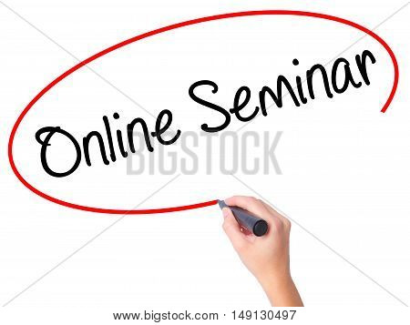 Women Hand Writing Online Seminar With Black Marker On Visual Screen