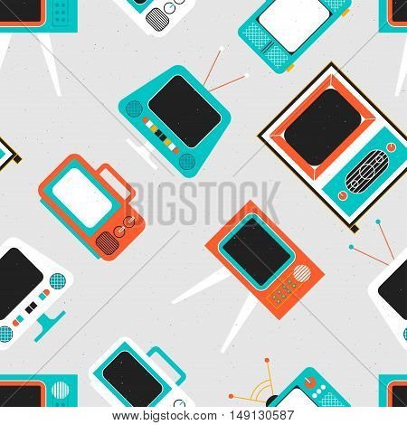 Retro television seamless pattern with different design
