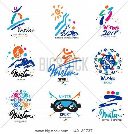 Winter sport, logo and illustration. Snowy mountains, extreme winter sports illustration. Handmade emblem of the winter championship.