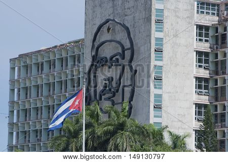 Havana, Cuba - September 09, 2016:  Ministry of the Interior building with face of Che Guevara Revolution Square Cuba