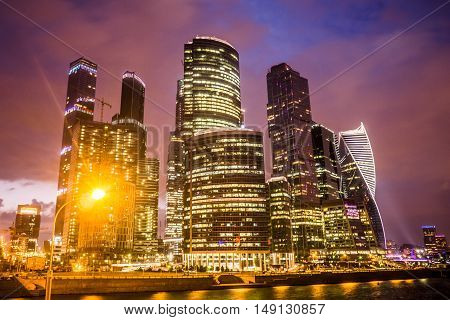 Moscow, Russia - July 2016. Skyscrapers of Moscow city business center at night.