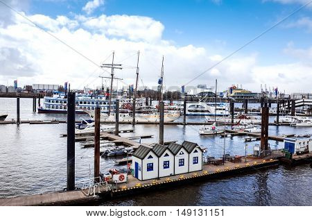 HAMBURG, GERMANY - APRIL 3 : Street view of Cruise ship in the harbor of Hamburg on April 3, 2015, in Hamburg, Germany.
