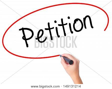 Women Hand Writing Petition With Black Marker On Visual Screen