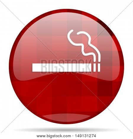 cigarette red round glossy modern design web icon