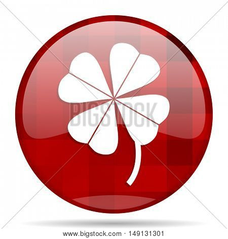 four-leaf clover red round glossy modern design web icon