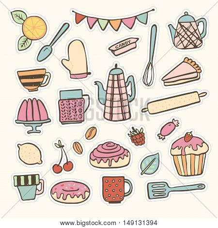 Baking kitchen hand drawn doodle stickers vector set. Can be used as icons or illustrations