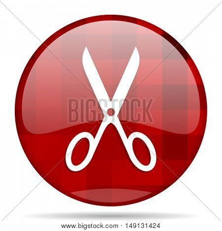 scissors red round glossy modern design web icon