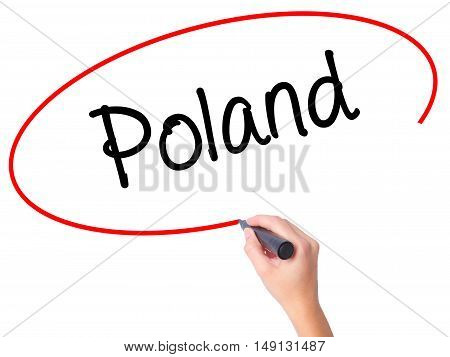 Women Hand Writing Poland  With Black Marker On Visual Screen
