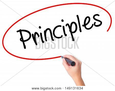Women Hand Writing Principles With Black Marker On Visual Screen