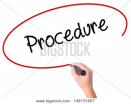Women Hand Writing Procedure With Black Marker On Visual Screen