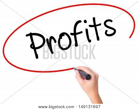 Women Hand Writing Profits With Black Marker On Visual Screen.