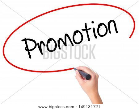 Women Hand Writing Promotion With Black Marker On Visual Screen