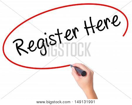 Women Hand Writing Register Here With Black Marker On Visual Screen