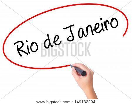 Women Hand Writing Rio De Janeiro With Black Marker On Visual Screen