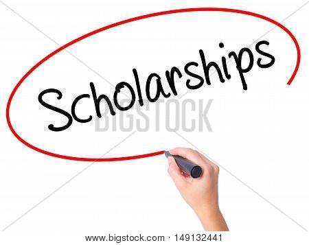 Women Hand Writing Scholarships With Black Marker On Visual Screen