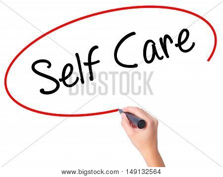 Women Hand Writing Self Care With Black Marker On Visual Screen