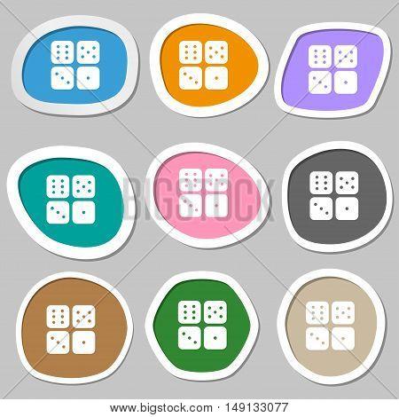 Dices Icon Symbols. Multicolored Paper Stickers. Vector