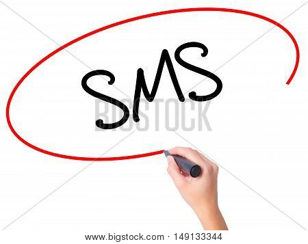 Women Hand Writing  Sms (short Message Service)  With Black Marker On Visual Screen