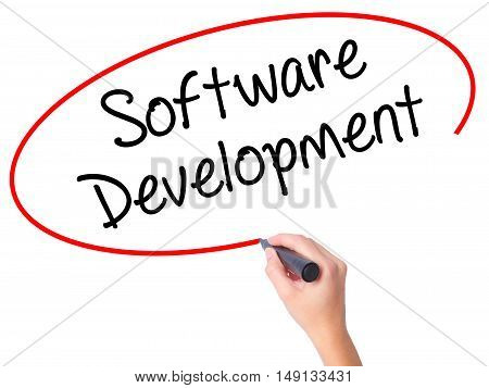 Women Hand Writing Software Development With Black Marker On Visual Screen