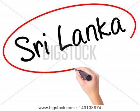 Women Hand Writing Sri Lanka With Black Marker On Visual Screen