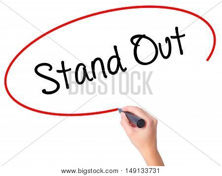 Women Hand Writing Stand Out With Black Marker On Visual Screen