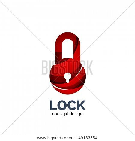 Vector creative abstract lock logo created with lines, security concept