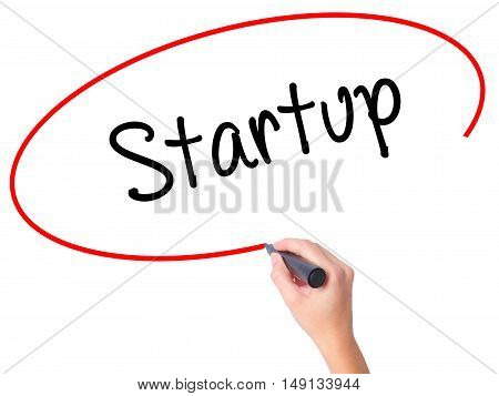 Women Hand Writing Startup  With Black Marker On Visual Screen